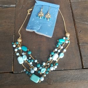 Turquoise Color Triple Strand GiftSet